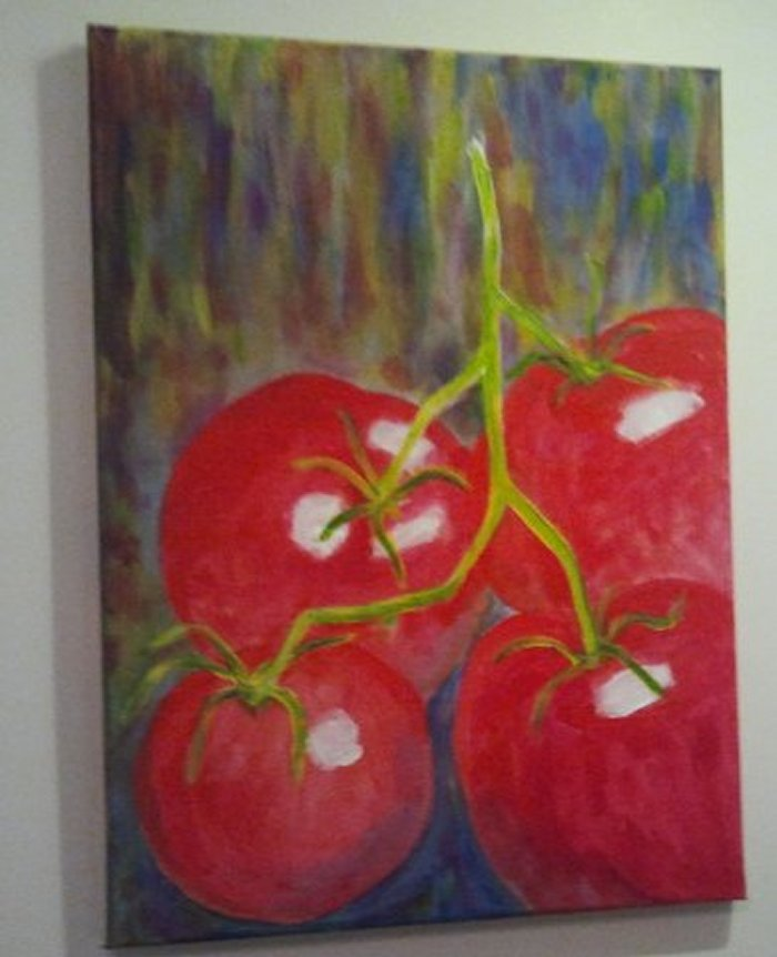 Kleine Tomaten, painted by Clive Ewing, 30x40cm, acrylic, canvas
