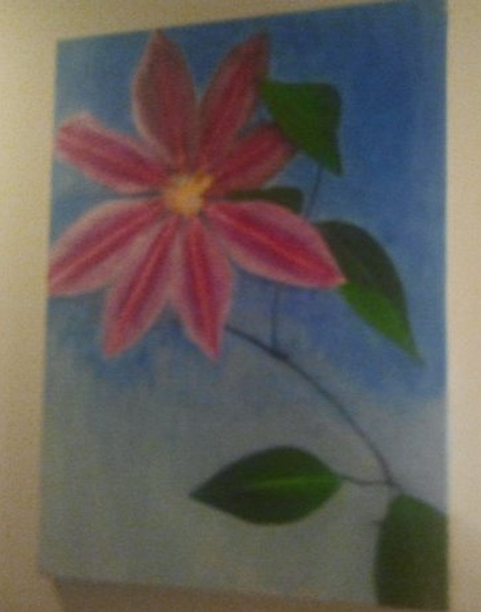 Clematis, painted by Clive Ewing, 60x80cm, acrylic, canvas